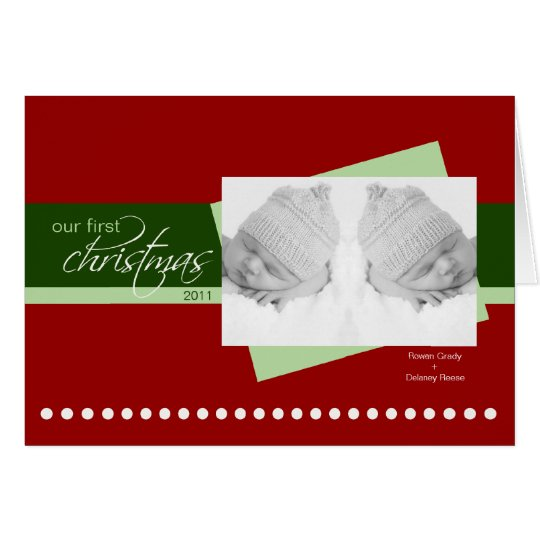 Twins 1st Christmas Holiday Card (red)