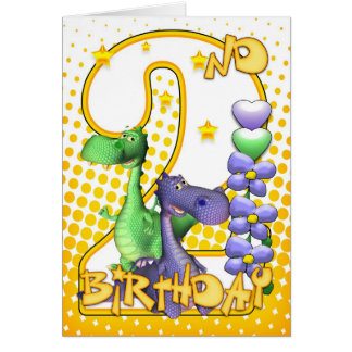 Twins 2nd Birthday Card - Cute Little Dragons