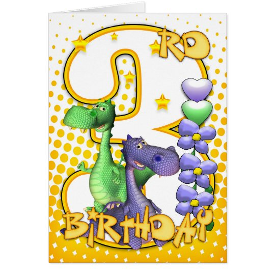 Twins 3rd Birthday Card - Cute Little Dragons