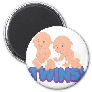Twins! 6 Cm Round Magnet
