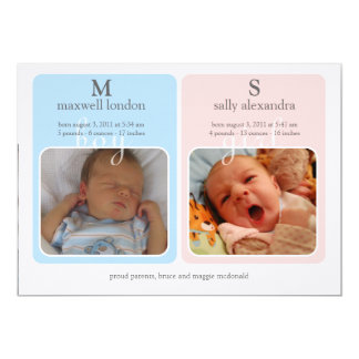 Twins Baby Announcment - Monogram Card