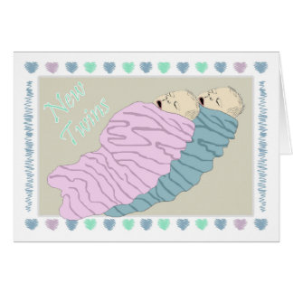 Twins baby boy and girl card