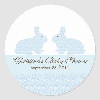 Twins Baby Bunny Rabbit Baby Shower Sticker