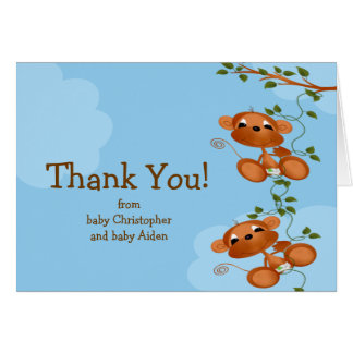 TWINS Baby Monkey Thank You Note Card