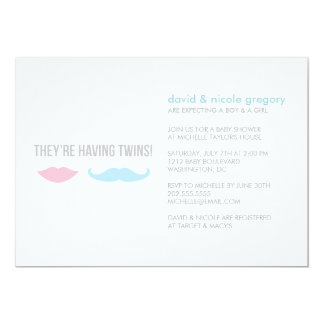 Twins Baby Shower 13 Cm X 18 Cm Invitation Card