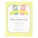 Twins Baby Shower - Cute Baby Boy and Girl Personalized Invitation