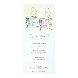 Twins Baby Shower Invitation - Baby Cribs