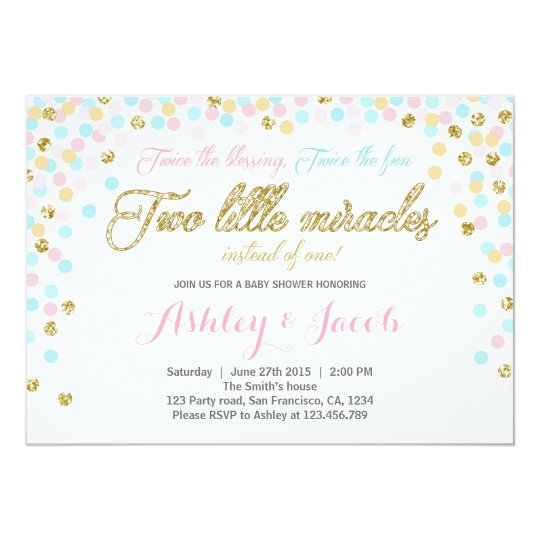 Twins Baby Shower Invitation Blush Pink Blue Gold Zazzle Com Au