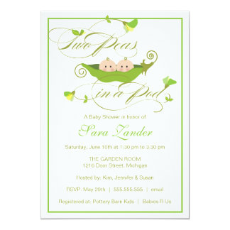 Twins Baby Shower Invitation - Two Peas in a Pod
