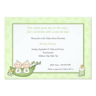 "Twins Baby Shower Invitations 5"" X 7"" Invitation Card"