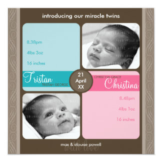 TWINS BABY THANK YOU :: cherished 1SQ Card