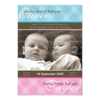 TWINS BABY THANK YOU :: harmony 1P 13 Cm X 18 Cm Invitation Card