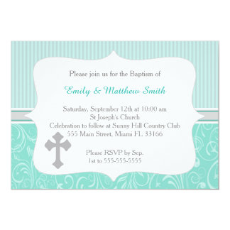 Twins Baptism Invitation Cross Turquoise