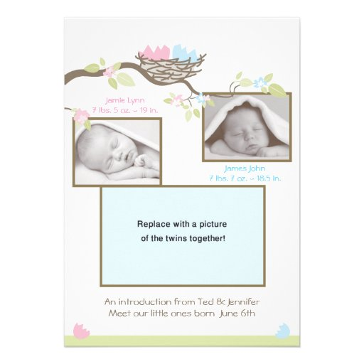 Twins Birth Announcement - Baby Boy & Girl