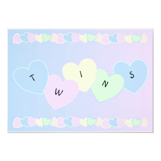 Twins Birth Announcement Hearts