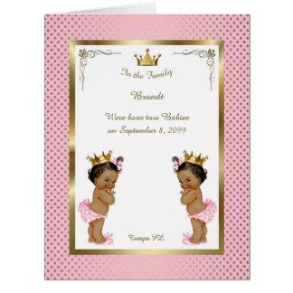 Twins birth GIRLS announcement card,photo,souvenir