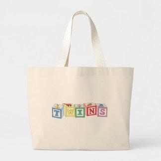 Twins Blocks Graphic Jumbo Tote Bag
