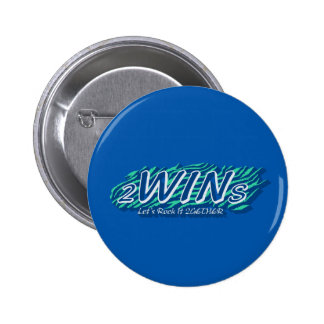 twins blue 6 cm round badge