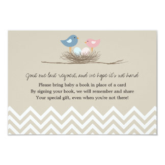 Twins Boy and Girl Bird's Nest Baby Shower 9 Cm X 13 Cm Invitation Card
