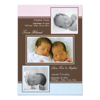 Twins Boy and Girl Birth Announcement