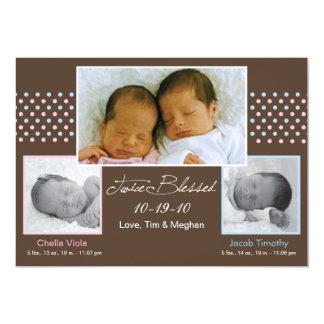 "Twins Boy and Girl Birth Announcement 5"" X 7"" Invitation Card"