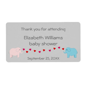 Twins Boy and Girl Elephants Water Bottle Favor Shipping Label