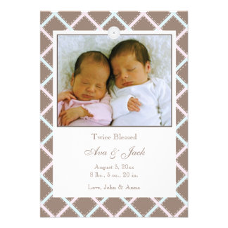 Twins Boy and Girl Photo Birth Announcement