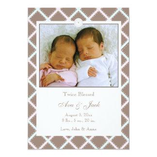 "Twins Boy and Girl Photo Birth Announcement 5"" X 7"" Invitation Card"