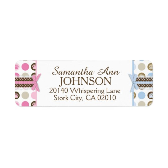 Twins Boy & Girl Bear Paw Print with 3D-look Bows Return Address Label