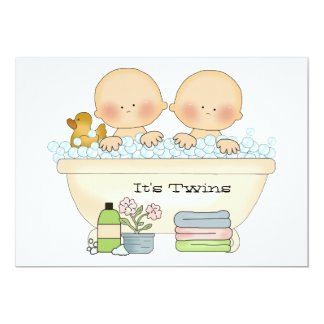 Twins Bubble Bath Baby Shower Invitation