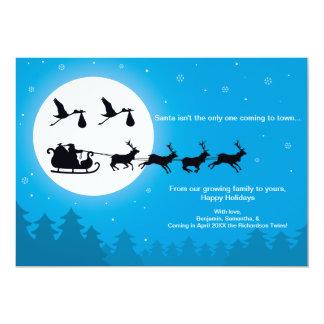 TWINS Christmas Card Pregnancy Announcement- Town 13 Cm X 18 Cm Invitation Card