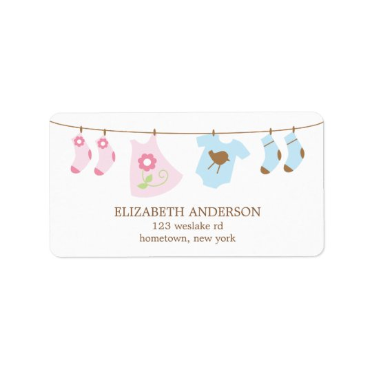 Twins Clothesline Baby Shower Labels