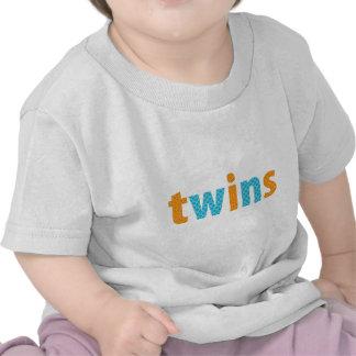 TWINS COLLECTION - boys orange + aqua Tshirts