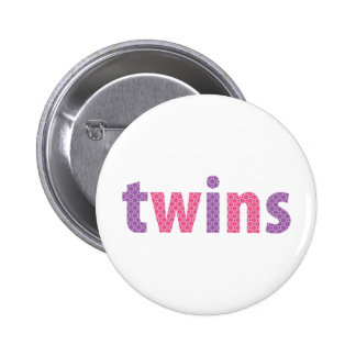 TWINS COLLECTION - girls violet + pink Pinback Button