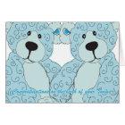 Twins Congratulations Teddy Bear in blue Card