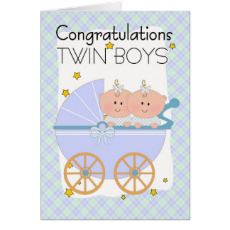 Twins - Congratulations Twin Boys In A Pram Card