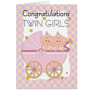 Twins - Congratulations Twin Girls In A Pram Greeting Card