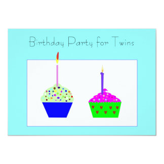 Twins Cupcake Birthday Invitation
