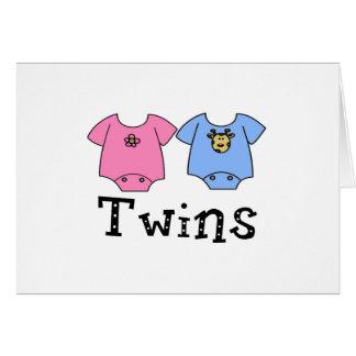 Twins Cute Bodysuit 1 girl & 1 Boy Greeting Card