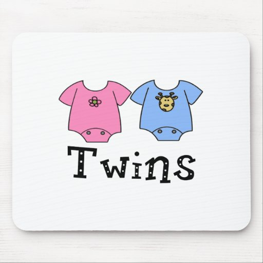 Twins Cute Bodysuit 1 girl & 1 Boy Mouse Pad