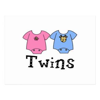 Twins Cute Bodysuit 1 girl & 1 Boy Postcard