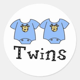 Twins Cute Bodysuit 2 boys Round Sticker