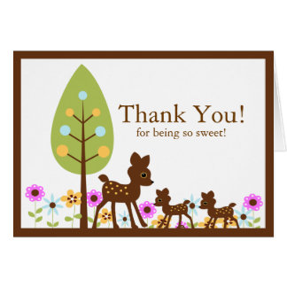 Twins Deer Baby Shower Thank You Note Card