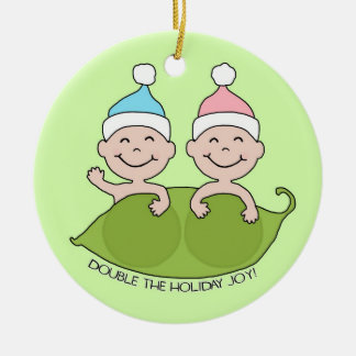TWINS: Double the Holiday Joy! Ceramic Ornament
