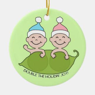 TWINS: Double the Holiday Joy! Round Ceramic Decoration