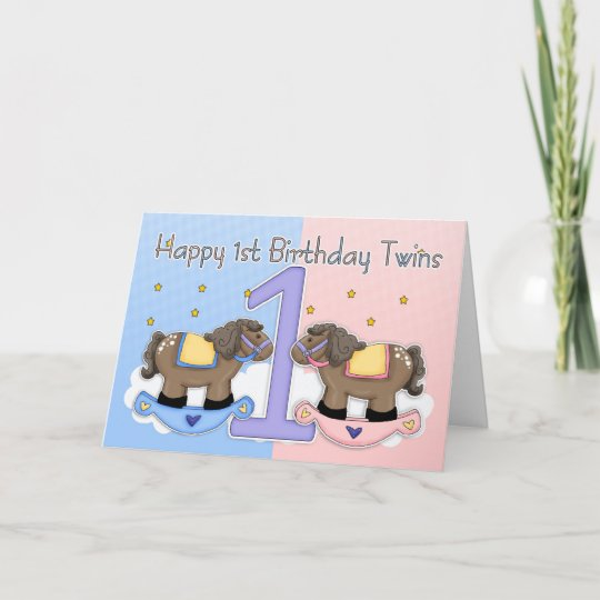 Twins First Birthday Card Two Little Ponies Zazzle