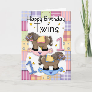 Twins First Birthday Card