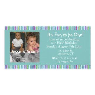 Twins First Birthday Party Invitation Custom Photo Card