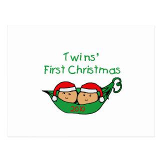 Twins First Christmas Postcard
