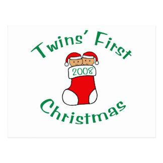 Twins First Christmas - Stocking 2008 Postcard